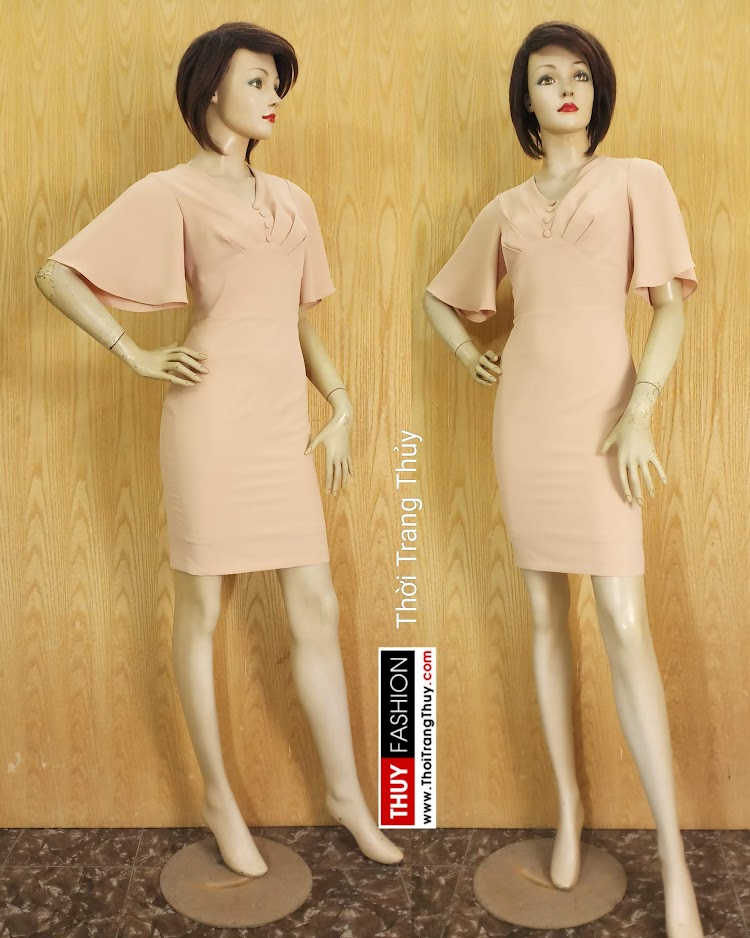 Váy bút chì tay loe xếp ly trước ngực V680 thời trang thủy sài gòn