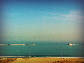 Photo: View of the FRS ferry from Susan and Mimoun's apartment in Tangier, overlooking the Mediterranean.