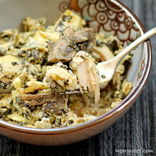 Slow Cooker Chicken with Artichokes and Spinach.