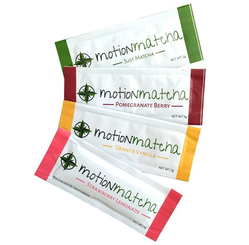 Motion Matcha Variety Pouch of single serving matcha packets