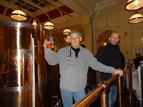 Photo: Ed raises a glass of real ale to the new brewhouse at Sheffield Station Pub.