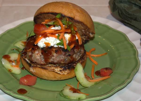 Sauce Dripping Deliciousness...glazed Grecian Hot Wing Burgers.