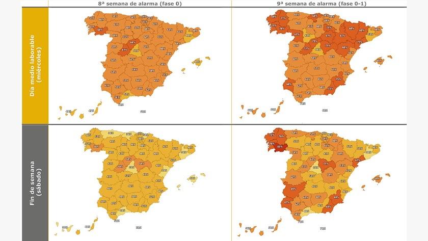 Los mapas de movilidad muestran cómo Almería se situaba entre las provincias con mayor actividad tras el paso de Fase 0 a Fase1. Foto: DGT-MITMA.