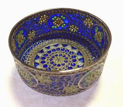 Photo: Plique-à-Jour Enamels by Diane Echnoz Almeyda - Floral Medallions Bowl - Fine Silver, Plique-à-Jour Enamels - Approximate size 33mm (h) x 57mm (diam) - $2900.00 US