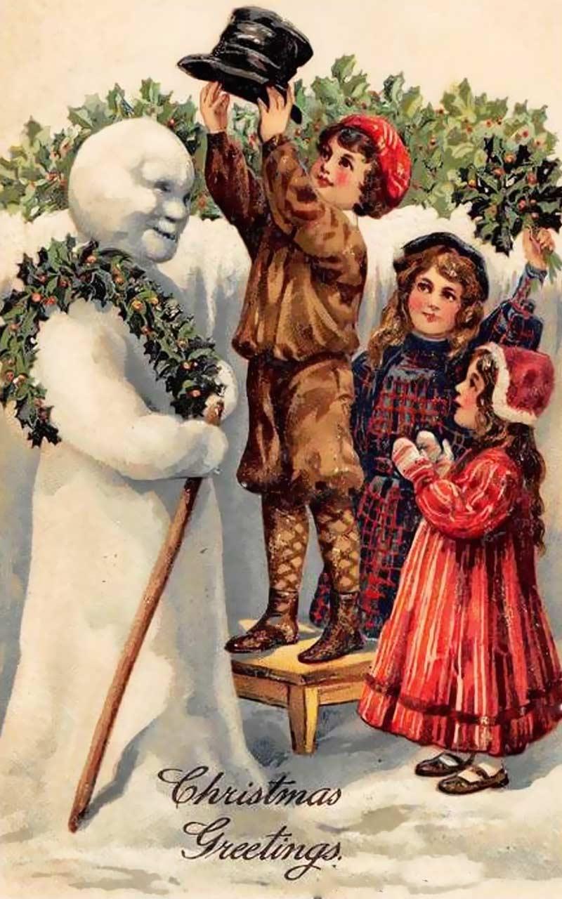На первой рождественской открытки, скопировать картинки