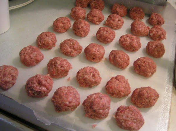 With hands, form 30 meatballs about 1-oz each, the size of a walnut.