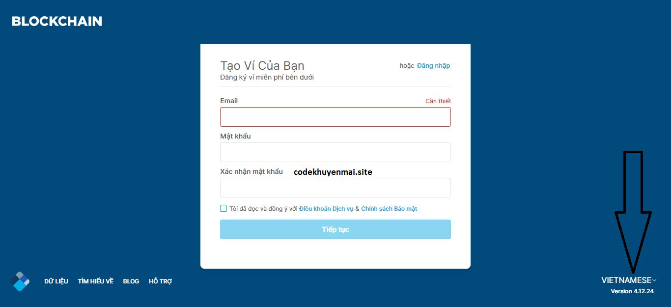form đăng ký ví tiền điện tử Blockchain