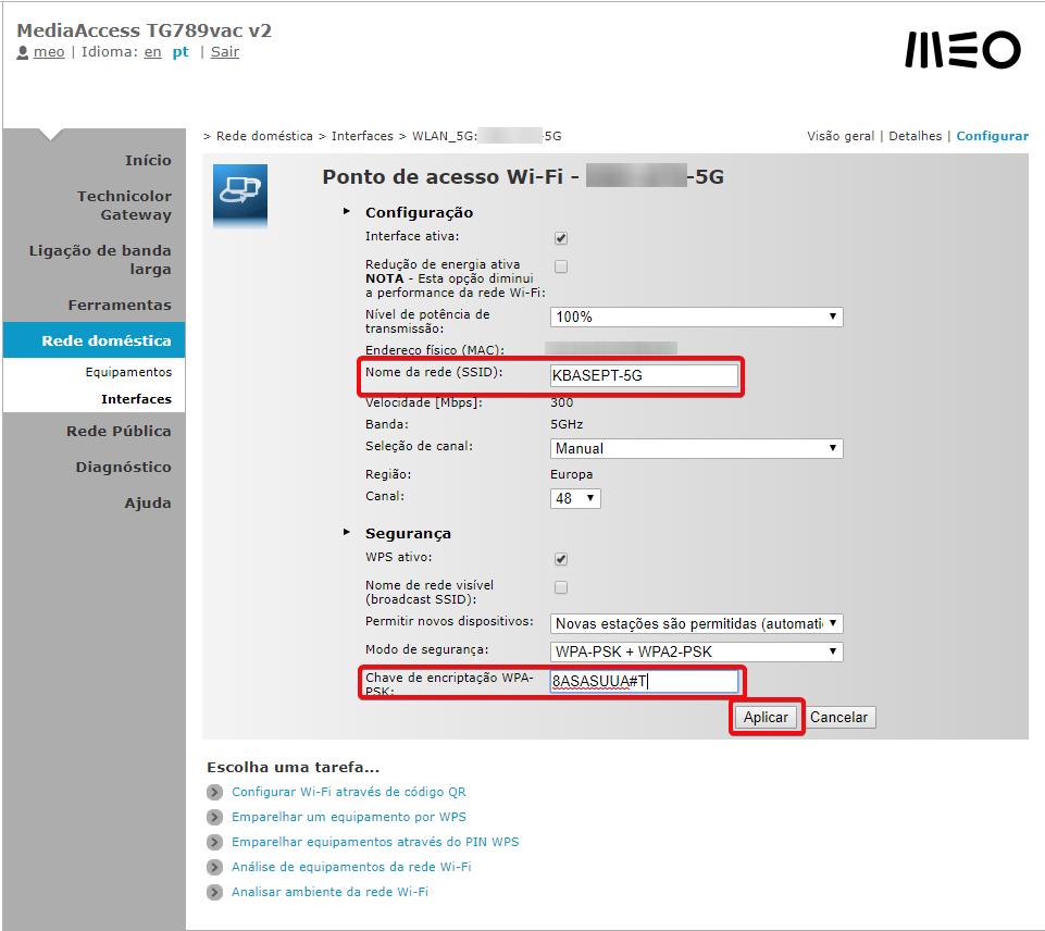 MEO Technicolor TG789vac especificar o Nome da Rede (SSID) e Chave de encriptação da rede 5Ghz