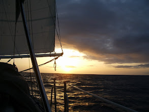 Photo: Sun goes down on our first night at sea