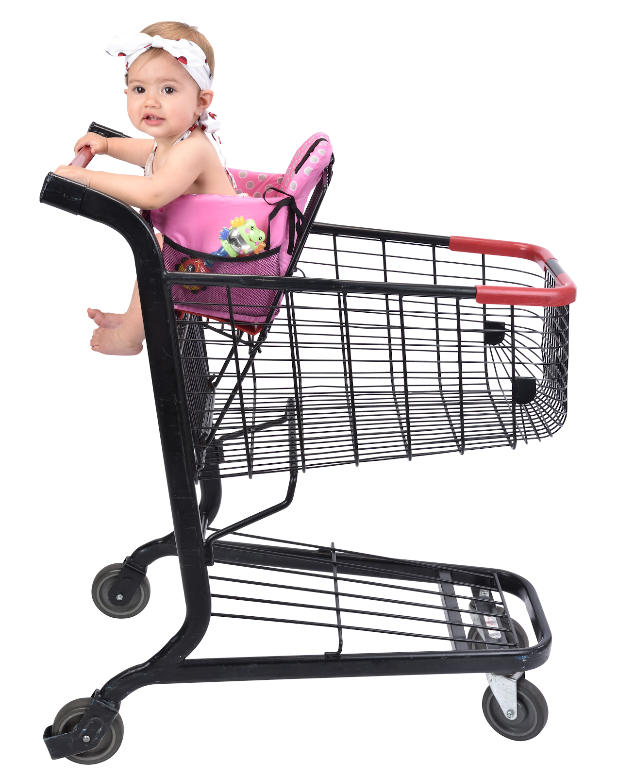 momogo baby in a grocery cart