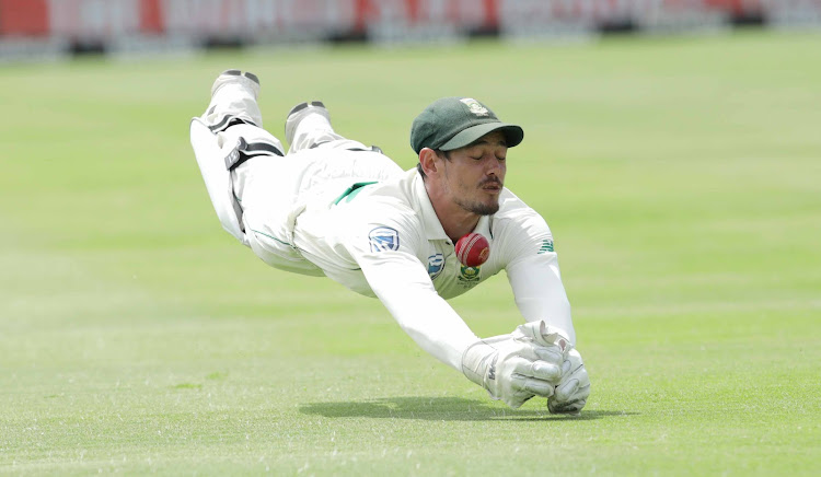 Proteas wicketkeeper Quinton de Kock drops England's Ben Stokes during the fourth day at Newlands on January 6 2019.
