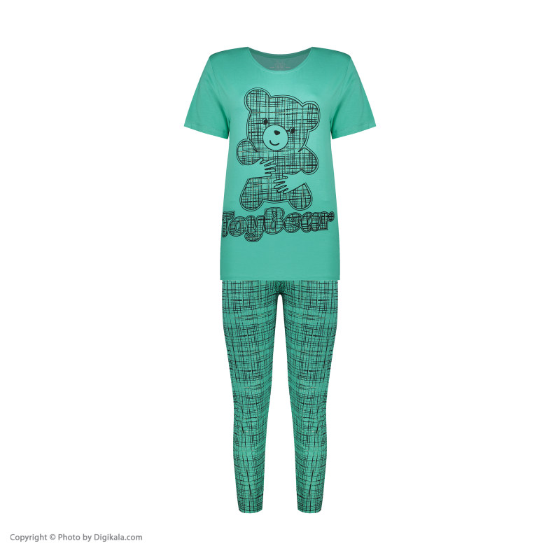 ست تی شرت و شلوار زنانه فمیلی ور طرح خرس کد 0263 رنگ فیروزه ای