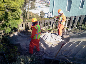 Photo: San Francisco Department of Public Works repair work continues on Hidden Garden Steps (16th Avenue, between Kirkham and Lawton streets in San Francisco's Inner Sunset District) in December 2012; for more information about the Hidden Garden Steps project, please visit http://hiddengardensteps.org.