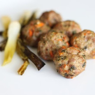 Ginger and Lemongrass Meatballs with Braised Scallions.