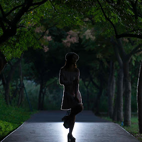 Is You by Billy C S Wong - Digital Art People ( girl, backlight, road, highlight, spot,  )