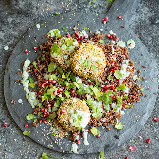 Spiced Chickpea Fritters with Wild Rice and Green Yoghurt Sauce.