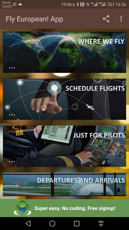 Fly European! App- screenshot