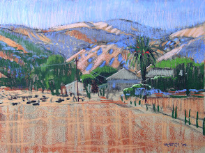 Photo: Ranch on Empire Mine Road, pastel by Nancy Roberts, copyright 2014. Private collection.