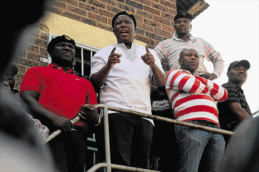 Expelled ANC Youth League leader Julius Malema speaks to Aurora mineworkers in Springs in this file photo.