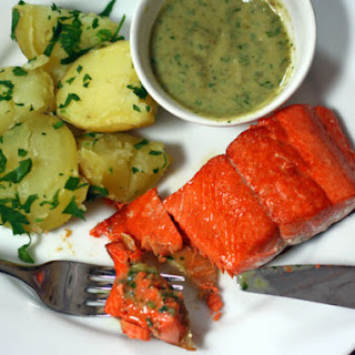 Sautéed Salmon With Potatoes and Creamy Anchovy Sauce.