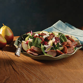 Sweet Apple Chicken Sausage Spinach Salad with Pecans & Goat Cheese.
