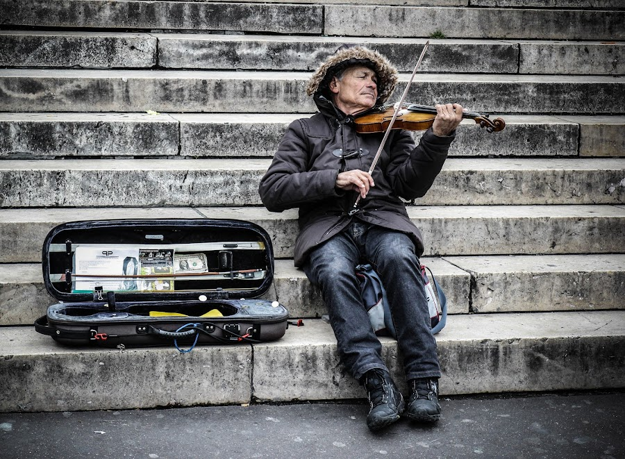 the violinist by Dacian Dorca - People Musicians & Entertainers ( senior citizen )