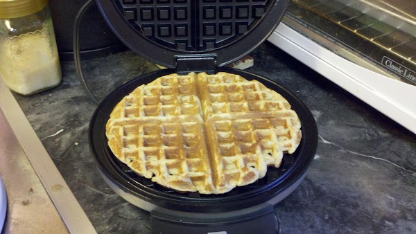 Remove waffle to plate, brush a little oil on the waffle iron, and repeat...