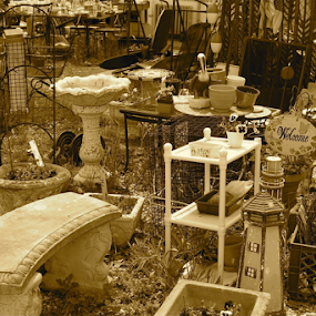 Stuff in Sepia by Susannah Lord - Artistic Objects Other Objects ( welcome sign, sepia, bench, shabby chic, lighthouse, flea market, sink, stuff, treasure, trash, planter, welcome, bird bath )