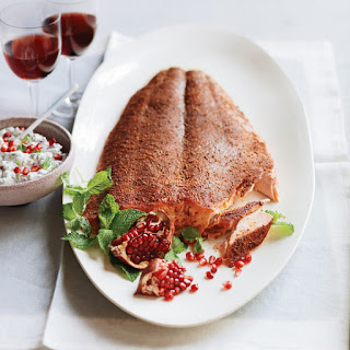 Spice-Rubbed Salmon with Herb-and-Pomegranate Raita