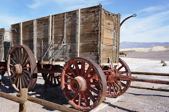 Photo: The wagons were among the largest ever pulled by draft animals, designed to carry 10 tons of borax ore at a time. With the mules, the caravan stretched over 180 feet. No wagon ever broke down in transit on the desert due to their construction.