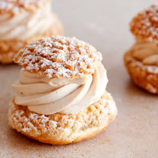 Almond, Chocolate and Coffee Cream Puffs.