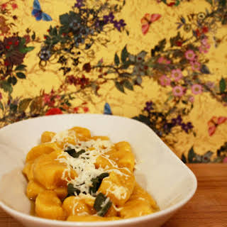 Pumpkin Dumplings With Smoked Scamorza Cheese.