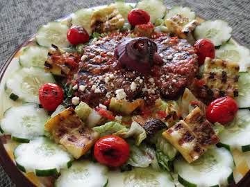 Healthy Mediterranean grilled salad