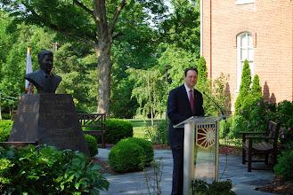 Photo: John Morris speaking at Reagan Memorial 2013, Eureka College