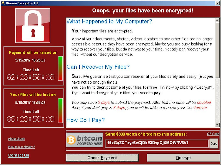 A screenshot shows a WannaCry ransomware demand, provided by cyber security firm Symantec, in Mountain View, California on May 15, 2017. Picture: REUTERS