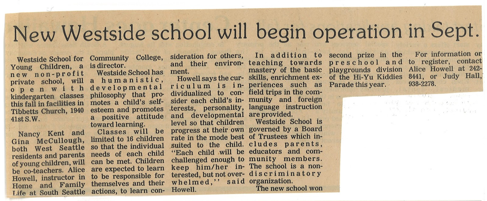 "Newspaper clipping with the title ""New Westside school will begin operation in Sept."" from 1981"