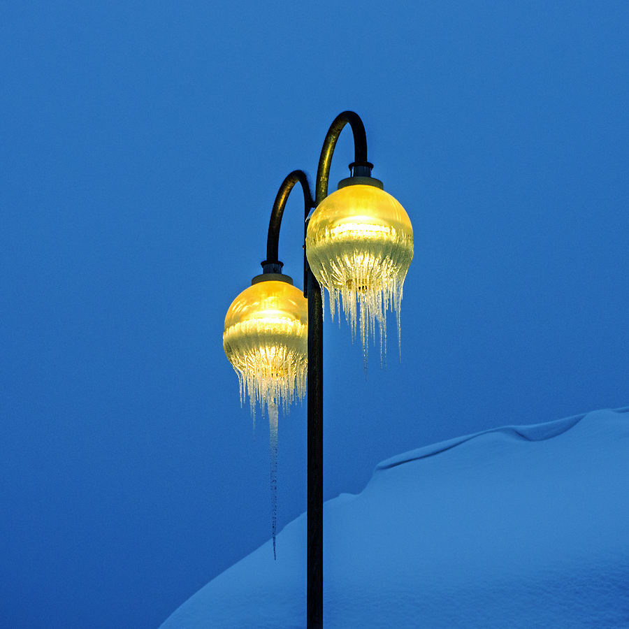 Icy street lamps by Anita Nielsen - Artistic Objects Other Objects ( dawn, winter, snow, icicles, lamp post,  )