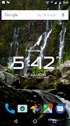 Waterfall digital clock live wallpaper APK screenshot thumbnail 1