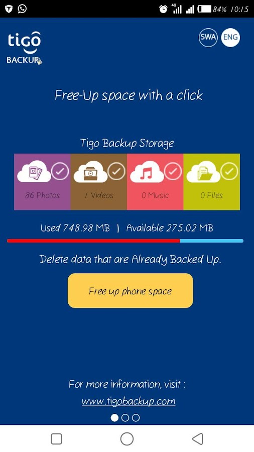 Tigo Backup- screenshot