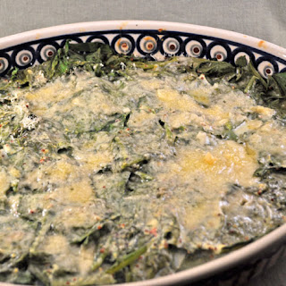 Spinach Gratin, topped with Parmesan