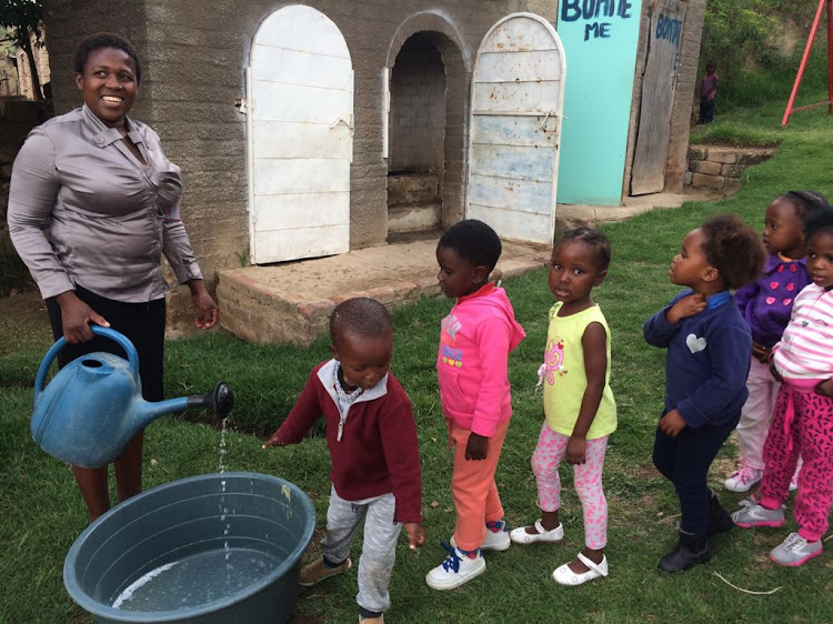 Children wash their hands at an early childhood development centre run by the Tshepang Educare Trust in rural Free State. New statistics show how the response to the pandemic has had a negative impact on child health.