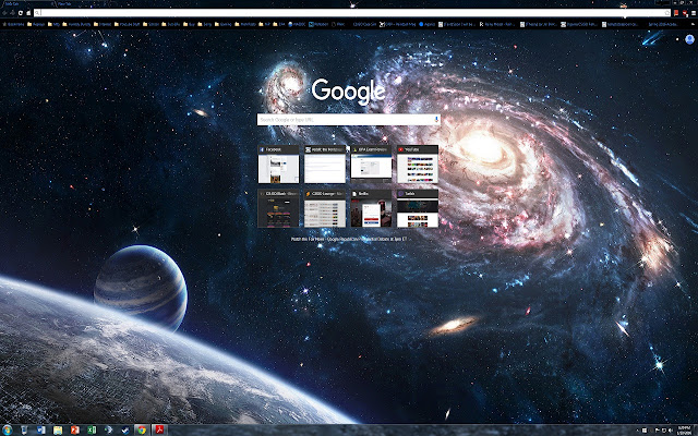 A 1440p Theme With Galaxy Backdrop Transparent Tabs And Bookmark Text Have Blue While Recent Page Is