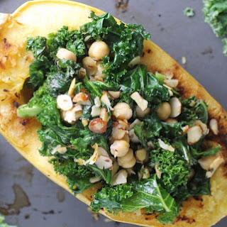 Kale and Chickpea Stuffed Spaghetti Squash [Vegan]
