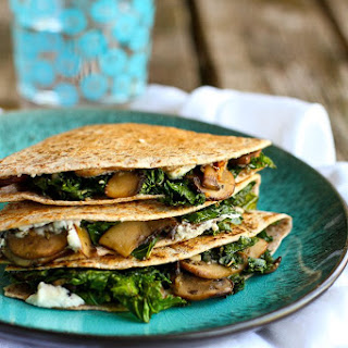 Kale, Mushroom & Goat Cheese Quesadillas.