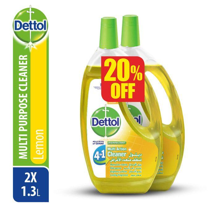 product_image_name-Dettol-4 In 1 Lemon Multi Action Cleaner - 1.3L - 2 Pcs-1
