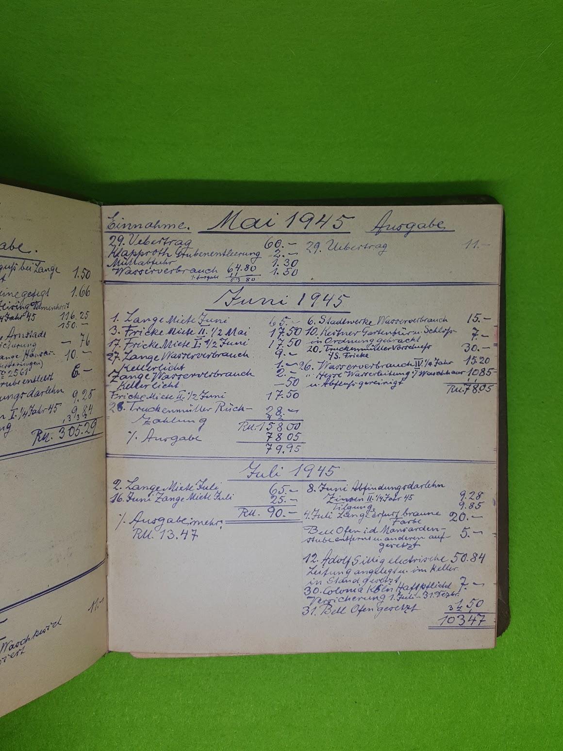 Wandertagebuch - Juli/August 1921 - Fortsetzung 1944 als Haus-Konto-Buch