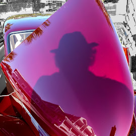 Reflective Shadow by Dave Walters - City,  Street & Park  Street Scenes ( car, biloxi, reflection, colors, antique car )