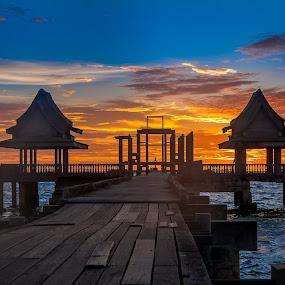 Gateway to Heaven. by John Greene - Landscapes Sunsets & Sunrises ( temple, ashes, monk, burial at sea, sunset, john greene )