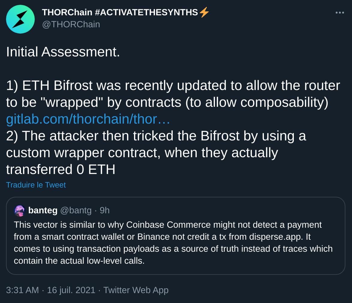 Publication Twitter de ThorChain expliquant les détails de la faille sur le protocole