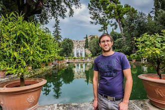 Photo: Daniele at The Fishing Ponds (Peschiere) and the Fountain of Neptune (Fontana di Nettuno) with the Organ Fountain (Fontana dell'Organo) above in Villa d'Este in Tivoli, Lazio, Italy